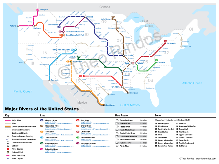 US Rivers By Flow Map - Hudson river on us map