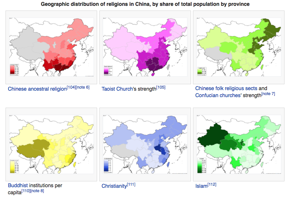 Religion in China map